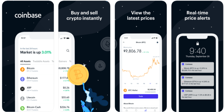 Coinbase screenshots app